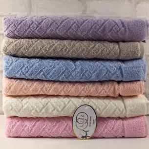 Набор полотенец для ванной 6 шт. Luzz HASIR хлопковая махра 50х90