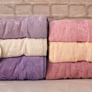 Набор полотенец для ванной 6 шт. Luzz SARMASIK хлопковая махра 50х90