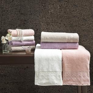 Полотенце для ванной Tivolyo Home OLIVIA хлопковая махра пудра 75х150