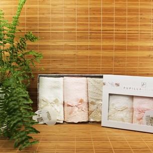 Подарочный набор полотенец-салфеток 3 шт. Pupilla CLARA бамбуковая махра