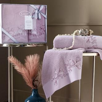 Подарочный набор полотенец для ванной 50х90, 70х140 Karna VIERA хлопковая махра светло-лавандовый