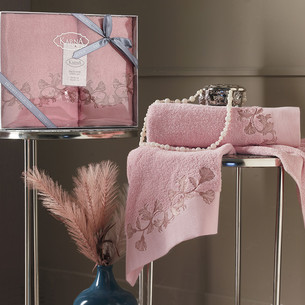 Подарочный набор полотенец для ванной 50х90, 70х140 Karna VIERA хлопковая махра коралловый