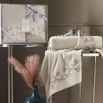 Подарочный набор полотенец для ванной 50х90, 70х140 Karna VIERA хлопковая махра бежевый