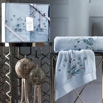 Подарочный набор полотенец для ванной 50х90, 70х140 Karna MALINDA хлопковая махра ментол