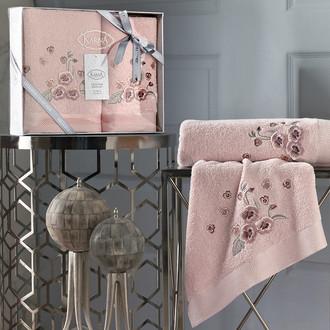 Подарочный набор полотенец для ванной 50х90, 70х140 Karna MALINDA хлопковая махра абрикосовый
