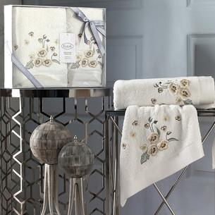 Подарочный набор полотенец для ванной 50х90, 70х140 Karna MALINDA хлопковая махра кремовый