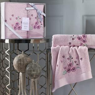 Подарочный набор полотенец для ванной 50х90, 70х140 Karna MALINDA хлопковая махра розовый