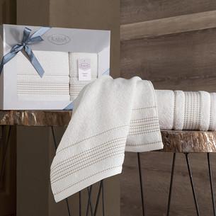 Подарочный набор полотенец для ванной 50х90, 70х140 Karna LADIN хлопковая махра кремовый