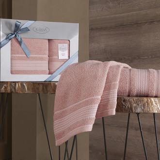 Подарочный набор полотенец для ванной 50х90, 70х140 Karna LADIN хлопковая махра шампань