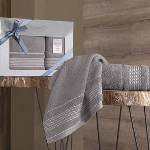 Подарочный набор полотенец для ванной 50х90, 70х140 Karna LADIN хлопковая махра капучино