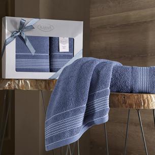 Подарочный набор полотенец для ванной 50х90, 70х140 Karna LADIN хлопковая махра индиго