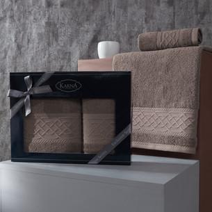 Подарочный набор полотенец для ванной 50х90, 70х140 Karna GRAVIT хлопковая махра бежевый