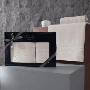 Подарочный набор полотенец для ванной 50х90, 70х140 Karna GRAVIT хлопковая махра экрю