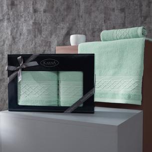 Подарочный набор полотенец для ванной 50х90, 70х140 Karna GRAVIT хлопковая махра зелёный