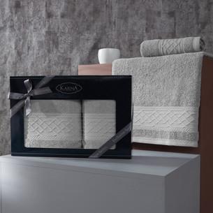 Подарочный набор полотенец для ванной 50х90, 70х140 Karna GRAVIT хлопковая махра серый