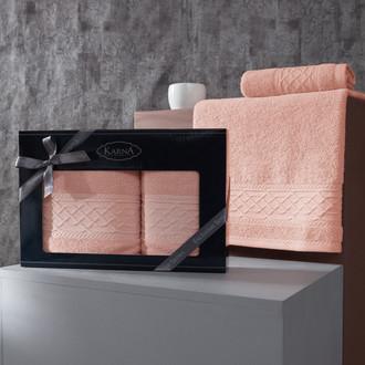 Подарочный набор полотенец для ванной 50х90, 70х140 Karna GRAVIT хлопковая махра абрикосовый