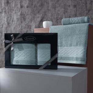 Подарочный набор полотенец для ванной 50х90, 70х140 Karna GRAVIT хлопковая махра небесно-синий