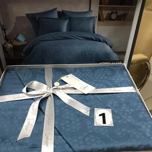 Постельное белье Saheser JACQUARD VIP SATIN хлопковый сатин-жаккард тёмно-синий евро