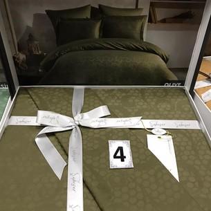 Постельное белье Saheser JACQUARD VIP SATIN хлопковый сатин-жаккард оливковый евро