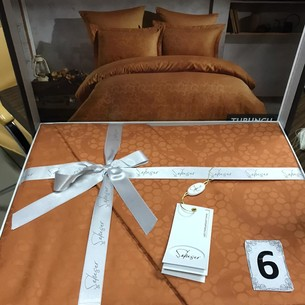 Постельное белье Saheser JACQUARD VIP SATIN хлопковый сатин-жаккард оранжевый евро