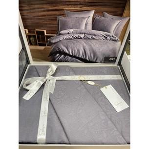 Постельное белье Saheser JACQUARD VIP SATIN хлопковый сатин-жаккард светло-серый евро