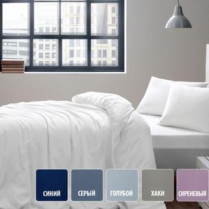 Постельное белье Tivolyo Home BASIC хлопковый сатин делюкс синий евро