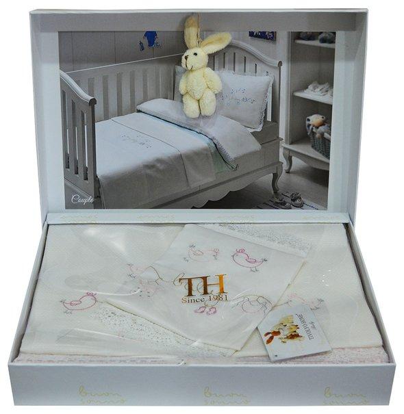 Постельное белье для новорожденных с пледом-пике Tivolyo Home COUPLE BEBE хлопковый сатин делюкс бежевый, фото, фотография