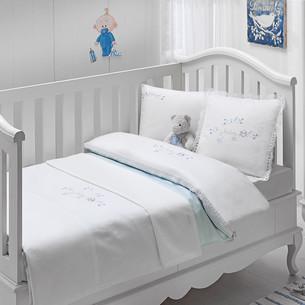 Постельное белье для новорожденных с пледом-пике Tivolyo Home COUPLE BEBE хлопковый сатин делюкс голубой