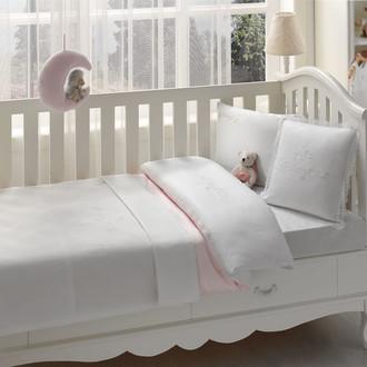 Постельное белье для новорожденных с пледом-пике Tivolyo Home COUPLE BEBE хлопковый сатин делюкс розовый