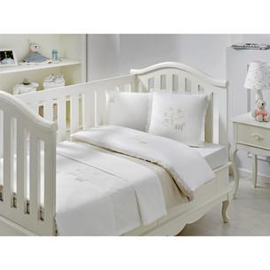 Постельное белье для новорожденных с пледом-пике Tivolyo Home STORK BEBE хлопковый сатин делюкс бежевый