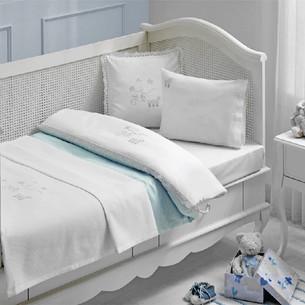 Постельное белье для новорожденных с пледом-пике Tivolyo Home STORK BEBE хлопковый сатин делюкс голубой
