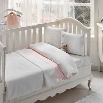 Постельное белье для новорожденных с пледом-пике Tivolyo Home STORK BEBE хлопковый сатин делюкс розовый