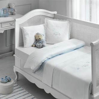 Постельное белье для новорожденных Tivolyo Home HAPPY BEBE хлопковый сатин делюкс голубой