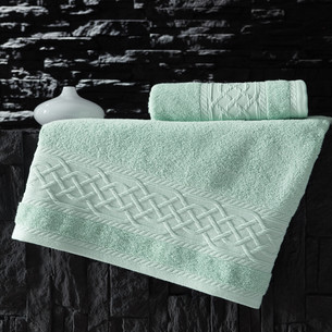 Полотенце для ванной Karna GRAVIT хлопковая махра зелёный 50х90
