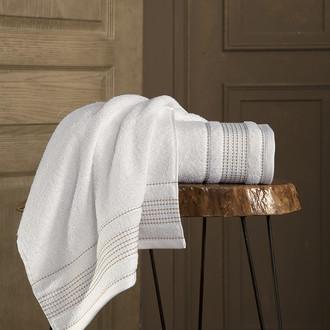Полотенце для ванной Karna LADIN хлопковая махра кремовый