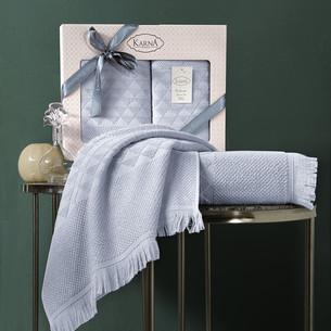 Подарочный набор полотенец для ванной 50х90, 70х140 Karna MONARD бамбуковая махра светло-серый