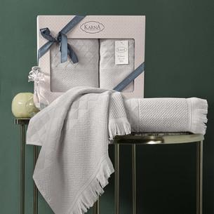 Подарочный набор полотенец для ванной 50х90, 70х140 Karna MONARD бамбуковая махра бежевый