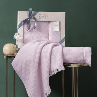 Подарочный набор полотенец для ванной 50х90, 70х140 Karna MONARD бамбуковая махра пудра