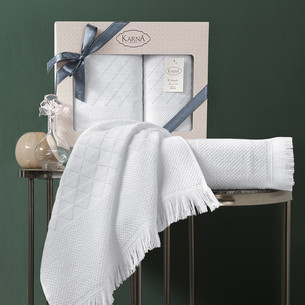 Подарочный набор полотенец для ванной 50х90, 70х140 Karna MONARD бамбуковая махра экрю