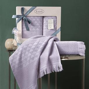 Подарочный набор полотенец для ванной 50х90, 70х140 Karna MONARD бамбуковая махра светло-лавандовый