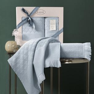 Подарочный набор полотенец для ванной 50х90, 70х140 Karna MONARD бамбуковая махра ментол