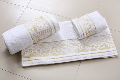 Полотенце для крещения Karna SAINT хлопковая махра 70х140, фото, фотография