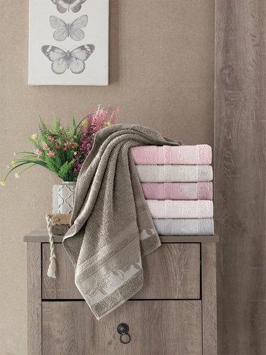 Набор полотенец для ванной 6 шт. Pupilla FIDAN бамбуковая махра 70х140, фото, фотография