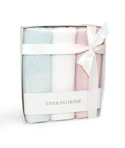 Подарочный набор кухонных полотенец Tivolyo Home LEMON хлопковая вафля, фото, фотография