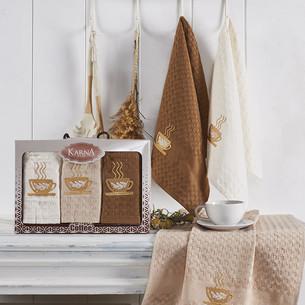 Подарочный набор кухонных полотенец 45х65(3) Karna SALVA хлопковая вафля V2