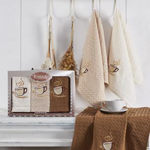 Подарочный набор кухонных полотенец 45х65(3) Karna SALVA хлопковая вафля V3