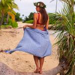 Полотенце пештемаль для пляжа, сауны, бани Begonville INDIGO & TERRA ADLER хлопок indigo blue 90х180, фото, фотография