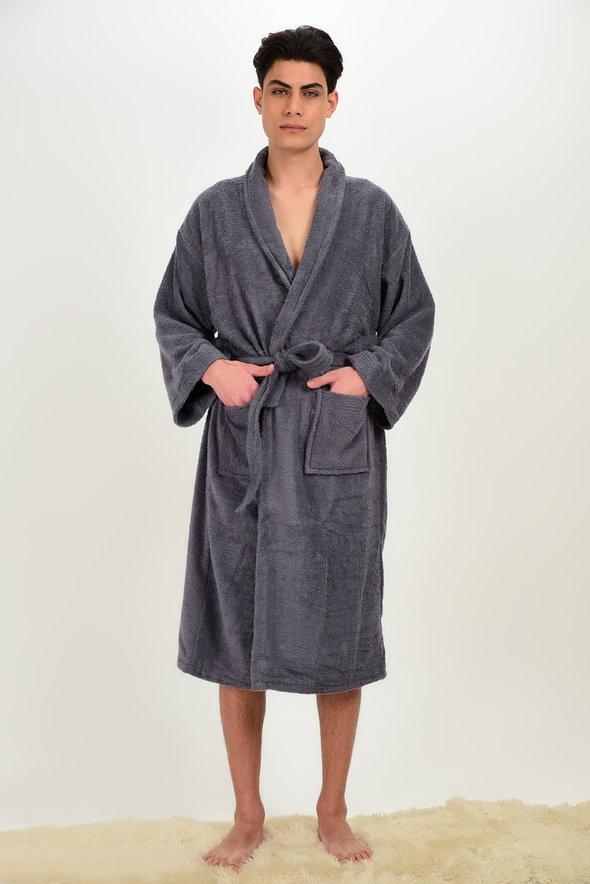 Халат Karna FERAT хлопковая махра серый XL, фото, фотография