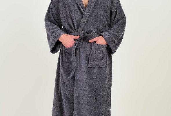 Халат Karna FERAT хлопковая махра серый 2XL, фото, фотография