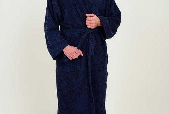 Халат Karna FERAT хлопковая махра синий L, фото, фотография
